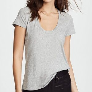 James Perse Deep V-Neck Cotton Tee- Heather Gray 2